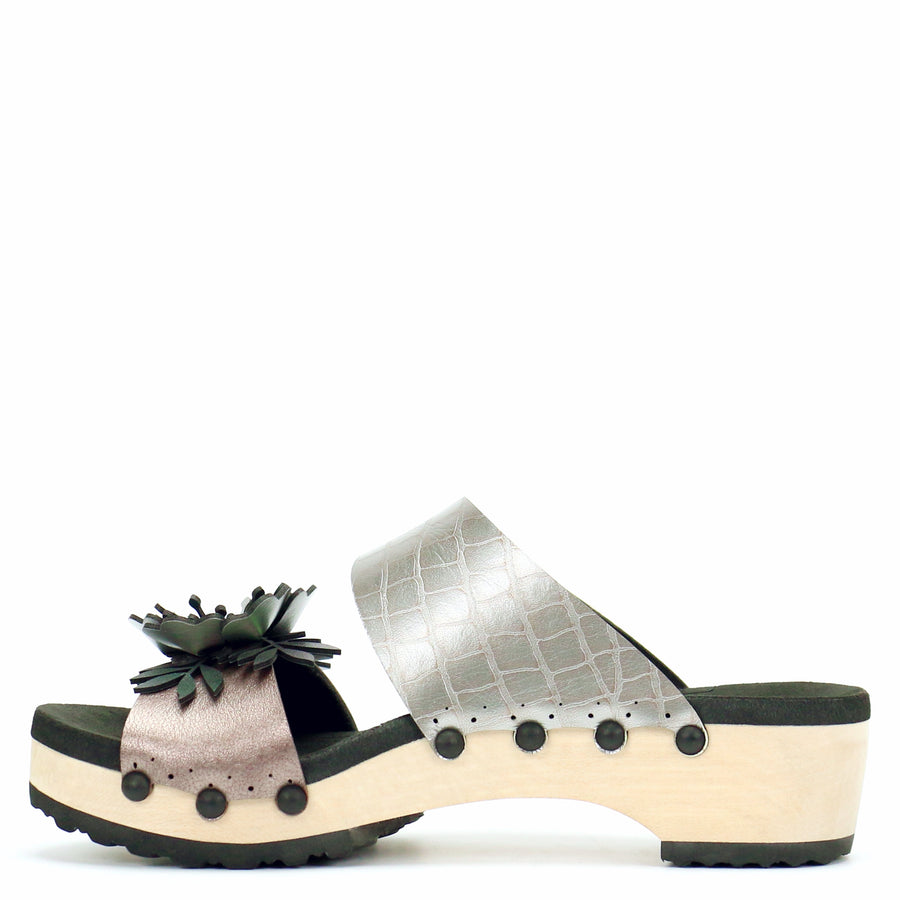 Low Clog Flower Toe Mule in Rose and Croc - Mohop