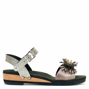 Low Wedge Flower Toe Ankle in Rose and Croc - Mohop