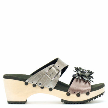 Mid Clog with Silver Crocodile Mule Strap and Rose Flower Toe