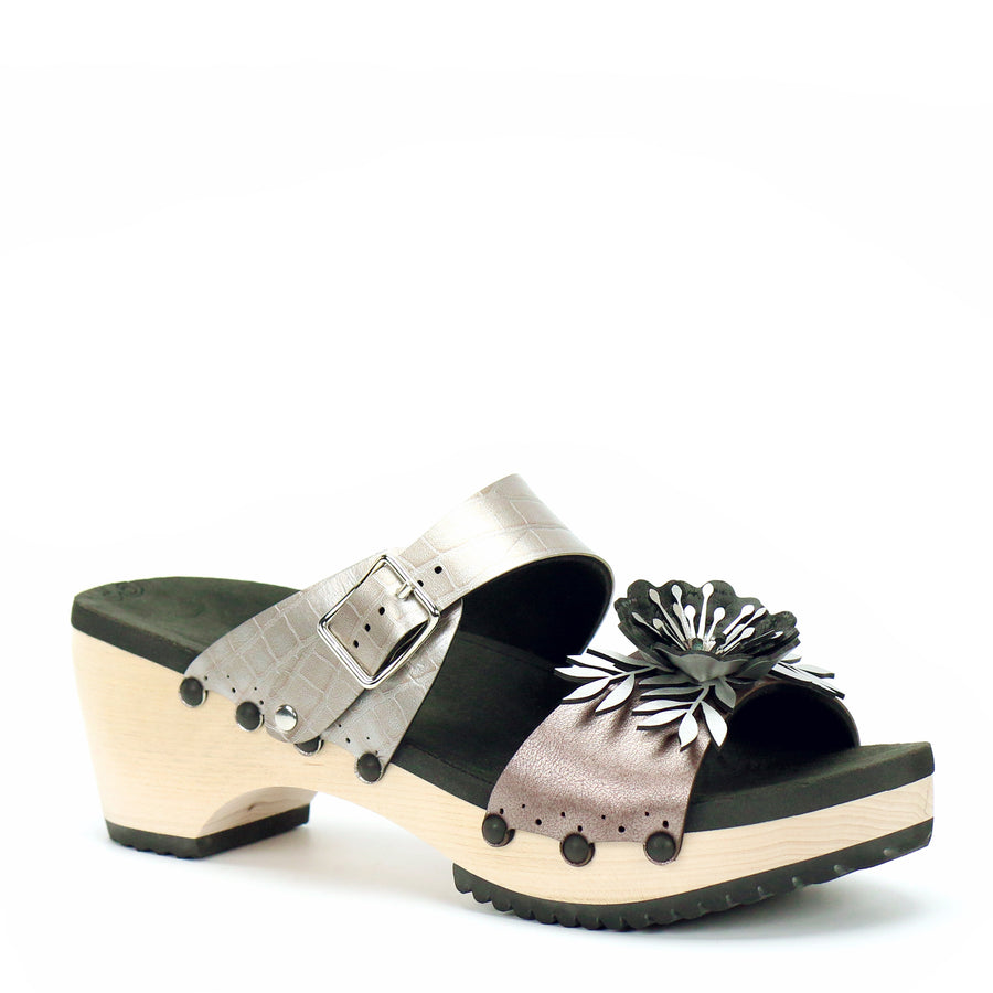Mid Clog Flower Toe Mule in Rose and Croc - Mohop
