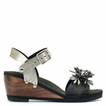 Mid Wedge Sandal with Silver Crocodile Ankle Strap and Black Flower Toe