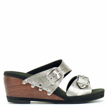 Mid Wedge Sandal with Silver Crocodile Mule Strap and Buckle Toe