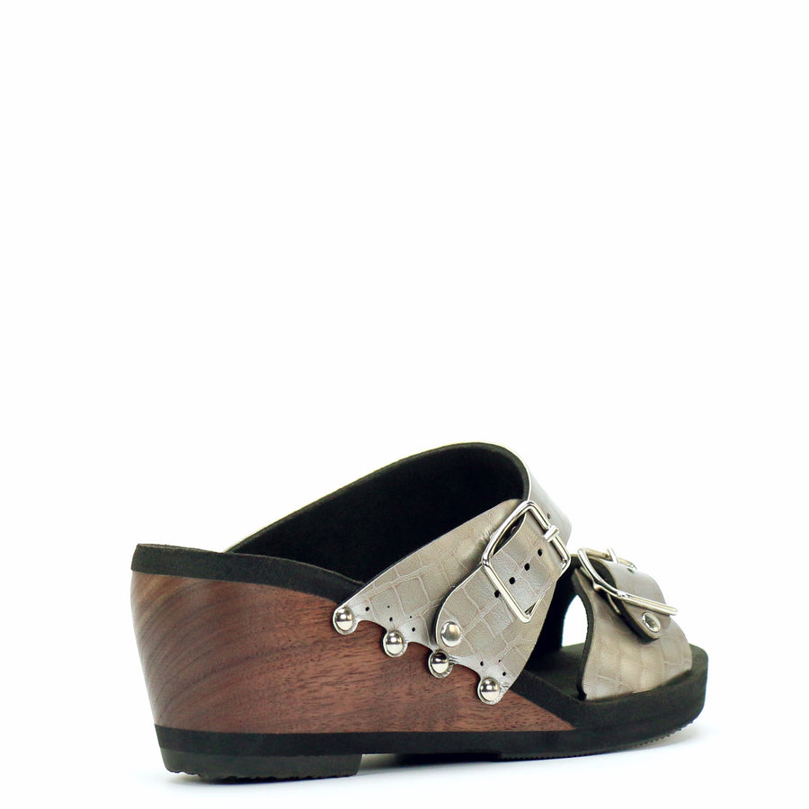 Mid Wedge Buckle Toe Mule in Croc - Mohop