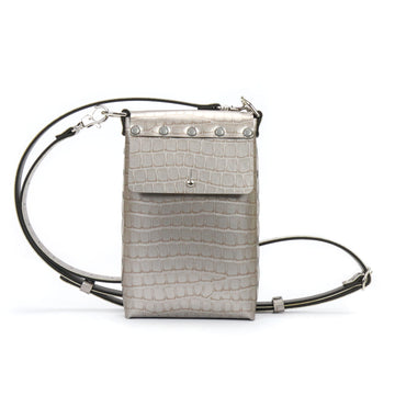 Silver crocodile vegan leather mobile bag with adjustable crossbody strap