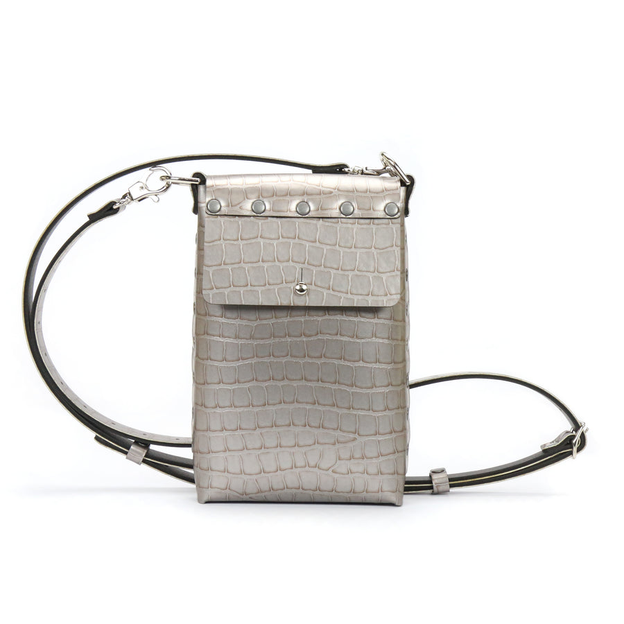 Crocodile Vegan Leather Mobile Crossbody Bag