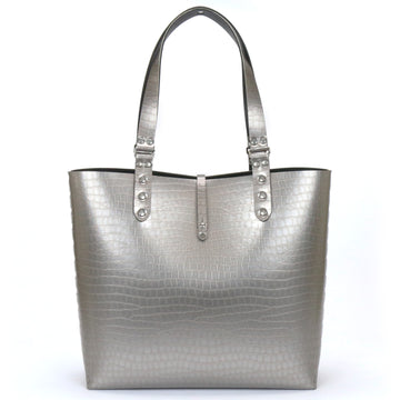 Silver Crocodile Vegan Leather Tote Bag