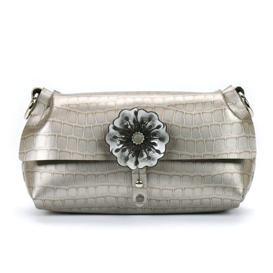 Silver crocodile vegan leather flower wristlet with removable strap