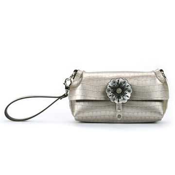 Silver crocodile vegan leather flower wristlet by Mohop