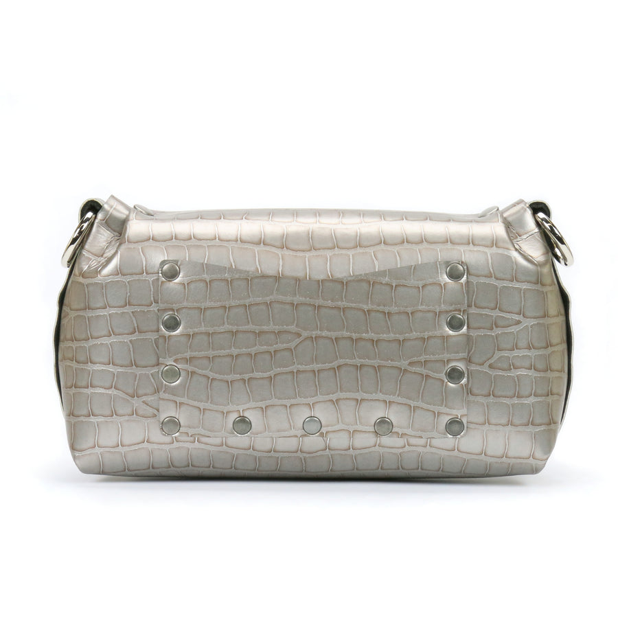 Silver crocodile vegan leather flower wristlet with exterior pocket