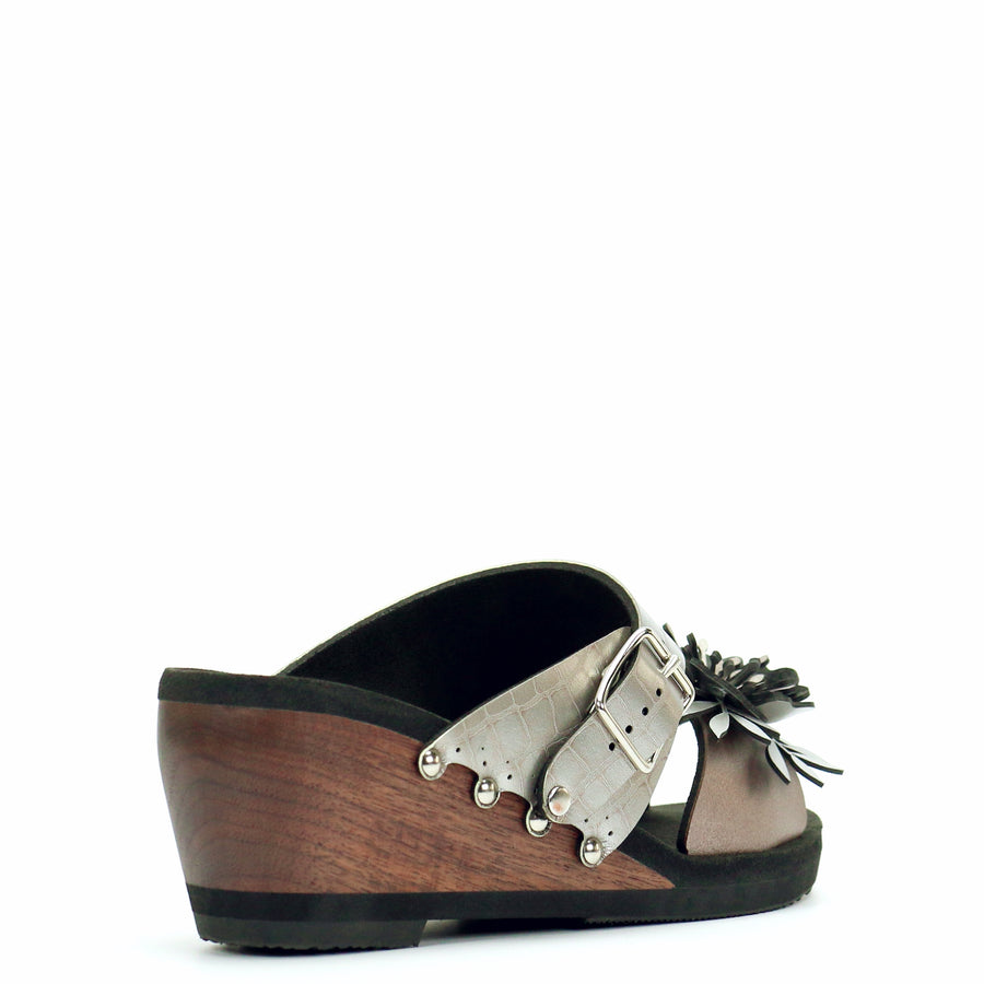 Mid Wedge Flower Toe Mule in Rose and Croc - Mohop