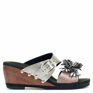 Mid Wedge Sandal with Silver Crocodile Mule Strap and Rose Flower Toe