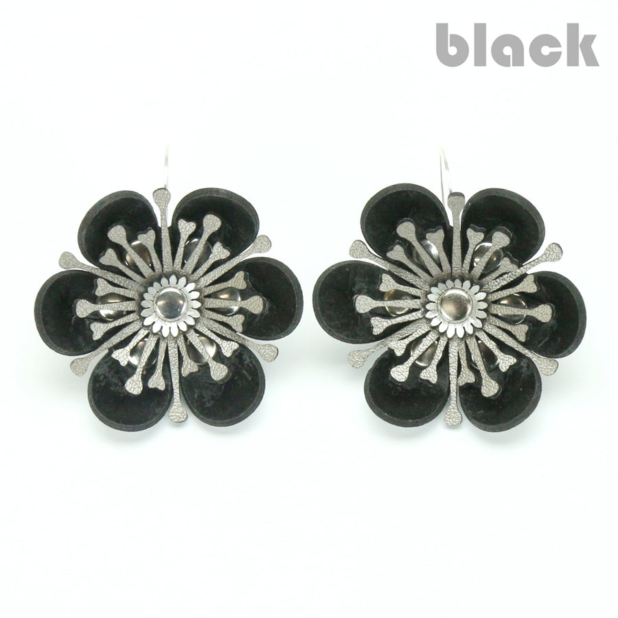 Black flower earrings made from vegan leather by Mohop