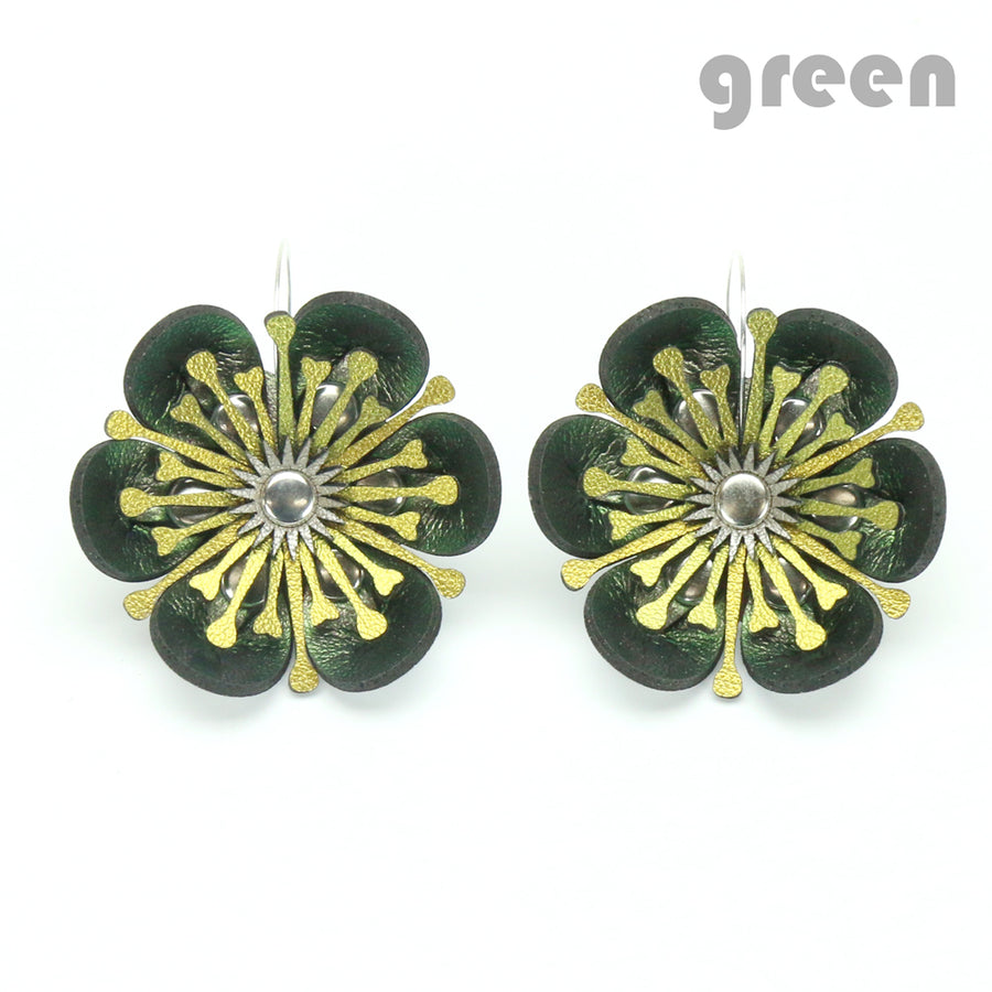 Green iridescent flower earrings made from vegan leather by Mohop