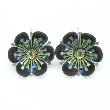 Blue Iridescent Vegan Leather Flower Earrings