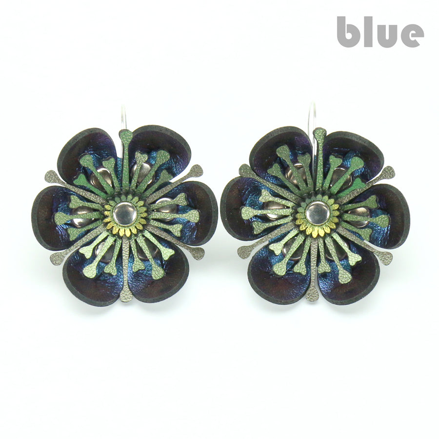 Blue Iridescent flower earrings made from vegan leather by Mohop