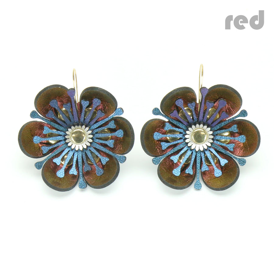 Red iridescent flower earrings made from vegan leather by Mohop