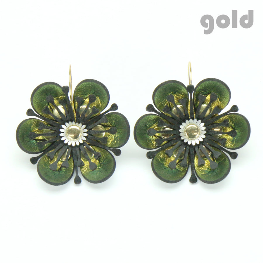 Gold iridescent flower earrings made from vegan leather by Mohop
