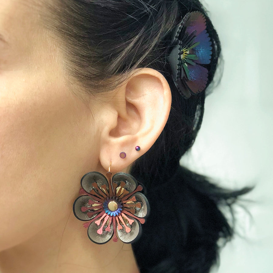 Silver flower earring made from vegan leather