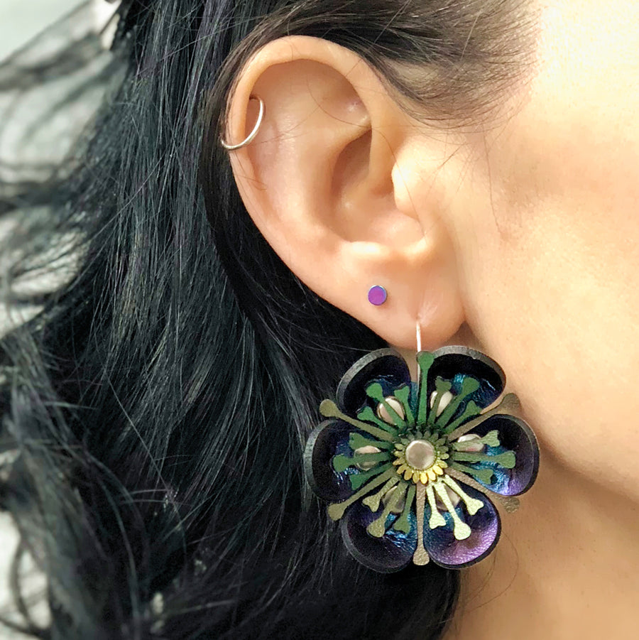 Blue Iridescent flower earring made from vegan leather