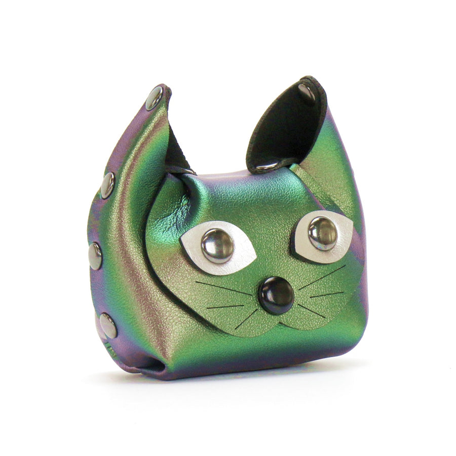 Green Iridescent Cat Coin Purse and earbud case by Mohop