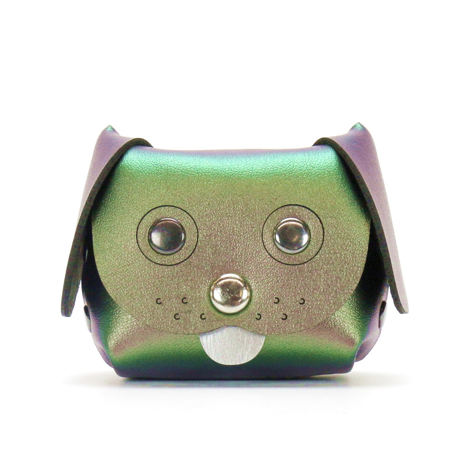 Green Iridescent Dog coin purse made from vegan leather in the USA
