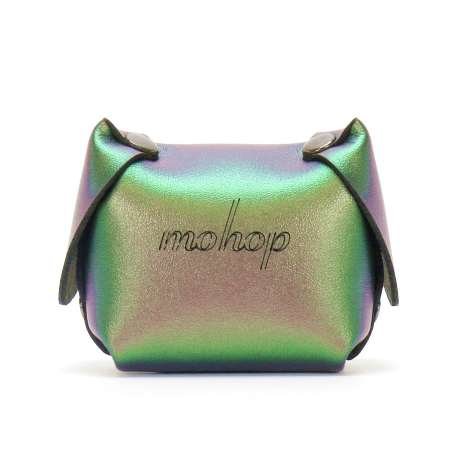 Green Iridescent vegan leather dog coin purse