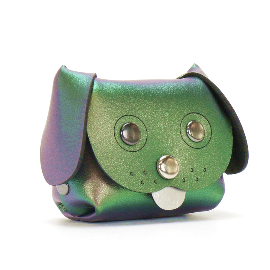 Dog Coin purse made from green iridescent vegan leather by Mohop