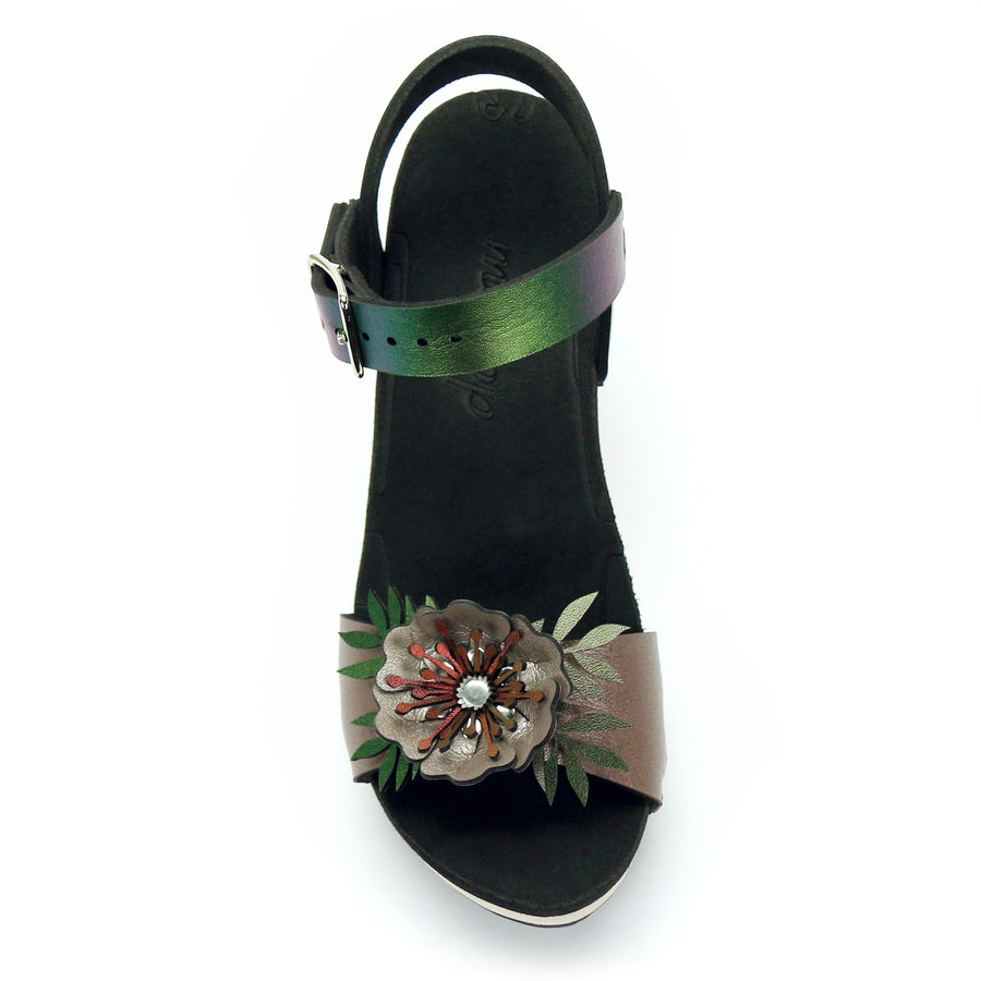 High Heel Flower Toe Ankle in Rose and Emerald - Mohop