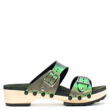Low Clog with Green Iridescent Mule Strap and Buckle Toe
