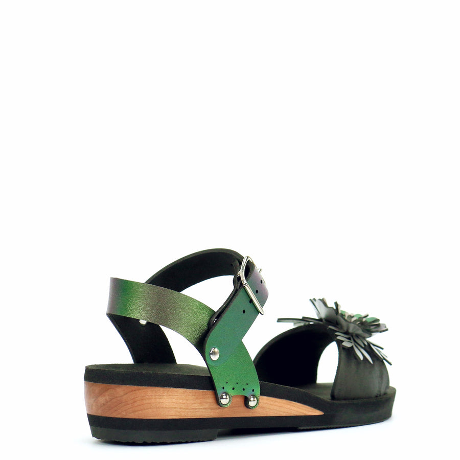 Low Wedge Sandal with Green Iridescent Ankle Strap and Black Flower Toe