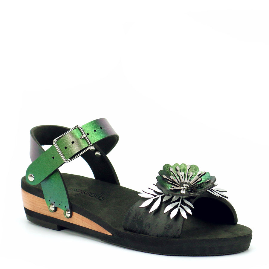 Low Wedge Flower Toe Ankle in Midnight and Emerald - Mohop