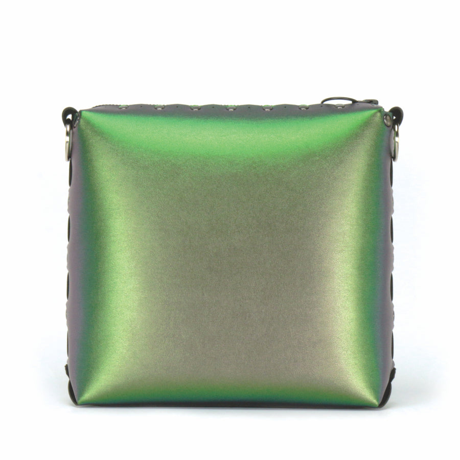 Front view of emerald medium crossbody bag without strap