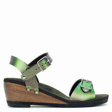 Mid Wedge Sandal with Green Iridescent Ankle Strap and Buckle Toe