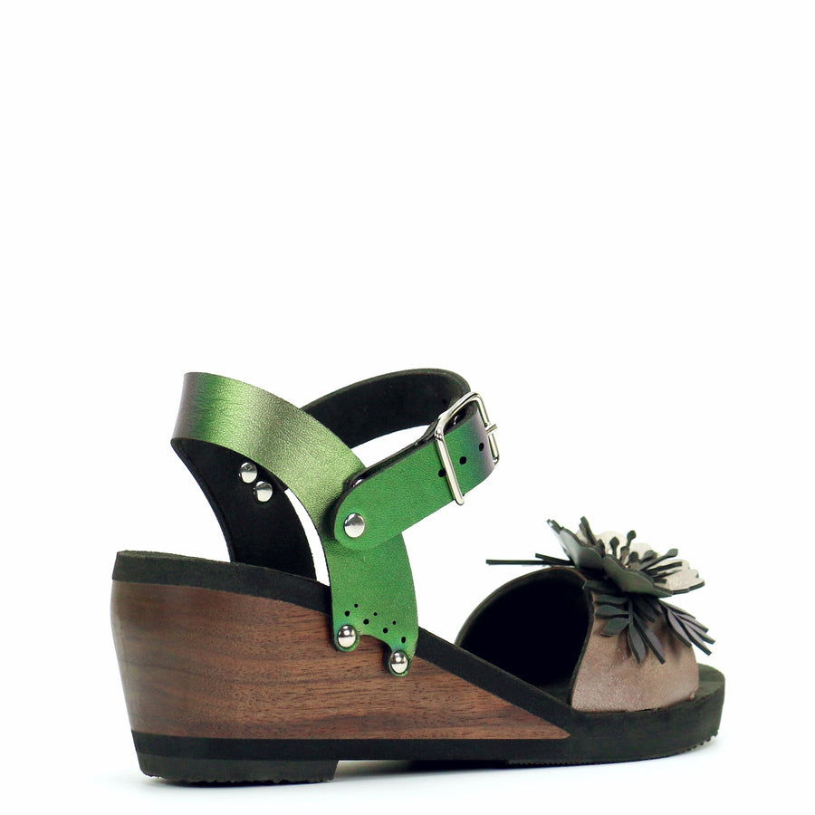 Mid Wedge Sandal with Green Iridescent Ankle Strap and Rose Flower Toe