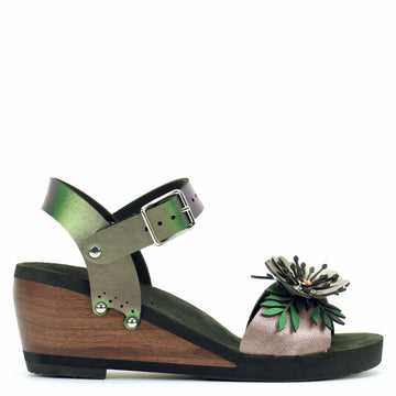 Mid Wedge Flower Toe Ankle in Rose and Emerald - Mohop