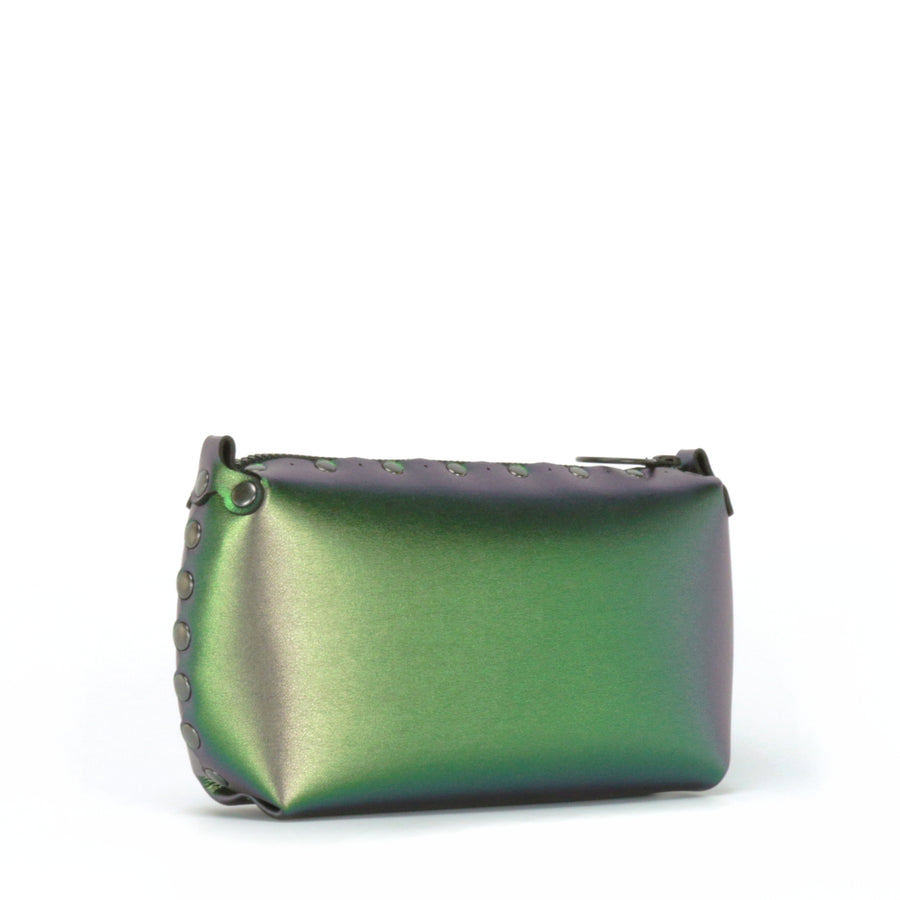 Front side view of emerald mini bag