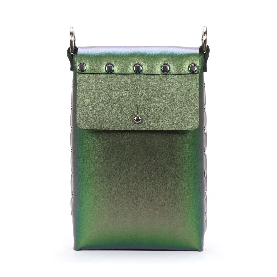 Emerald Iridescent vegan leather mobile crossbody bag with removable strap