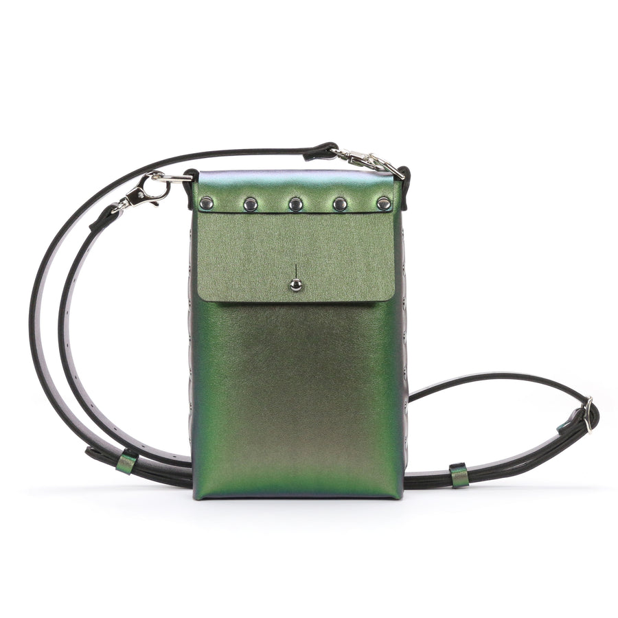 Emerald Iridescent Mobile Crossbody bag made from vegan leather in the USA