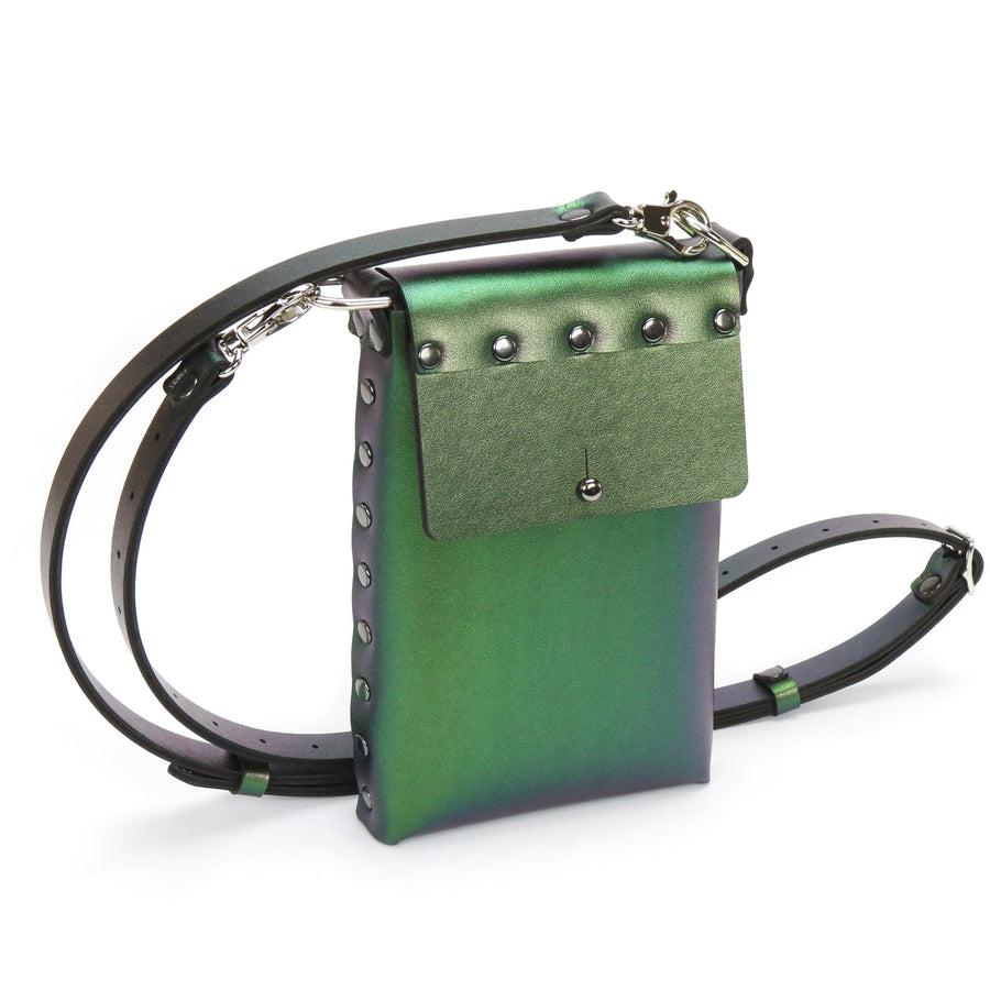 Emerald Iridescent vegan leather mobile crossbody bag with adjustable strap