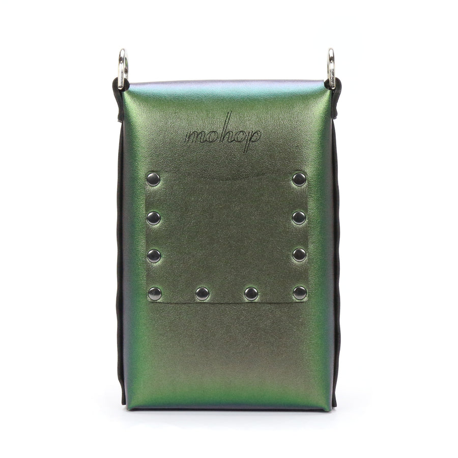 Emerald Iridescent vegan leather mobile crossbody bag with exterior pocket