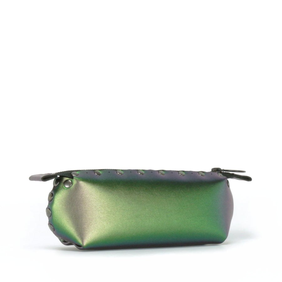 Side front view of emerald pencil bag