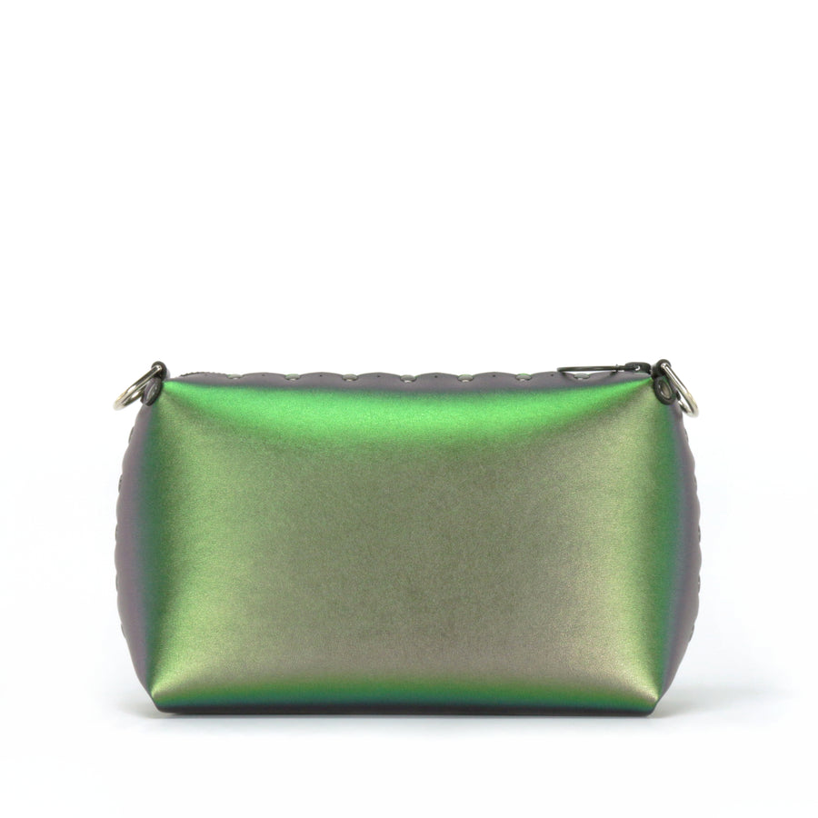 Front view of emerald small crossbody bag without strap