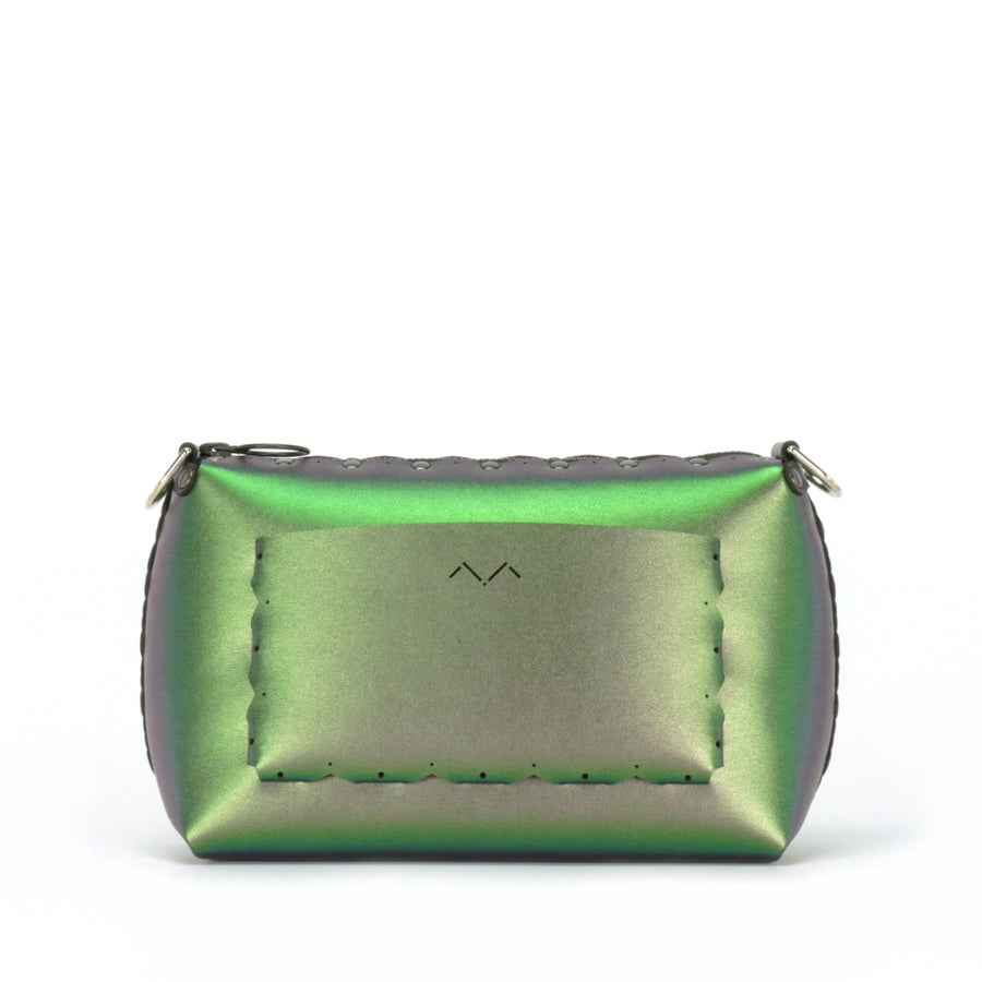 Rear view of emerald small crossbody bag without strap