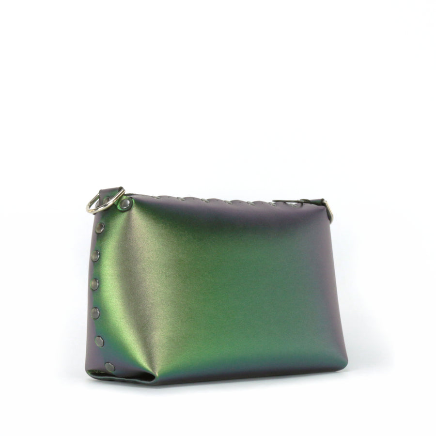 Front side view of emerald small crossbody bag
