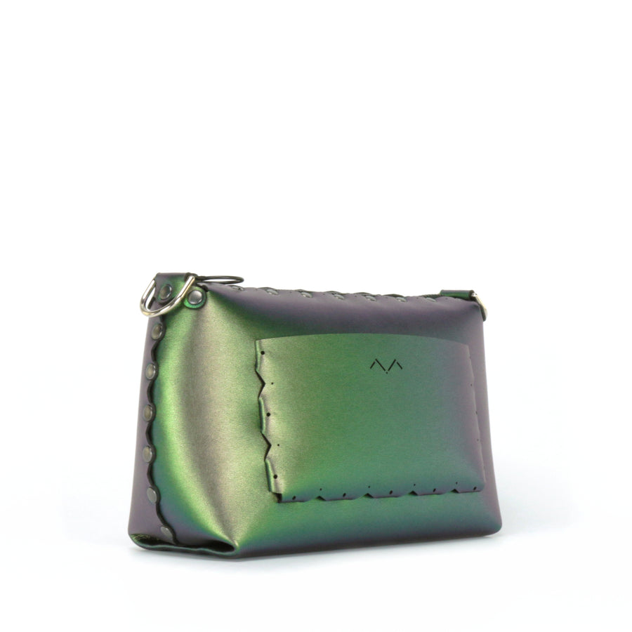 Rear side view of emerald small crossbody bag