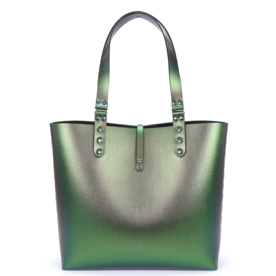 Emerald iridescent tote bag made from vegan leather