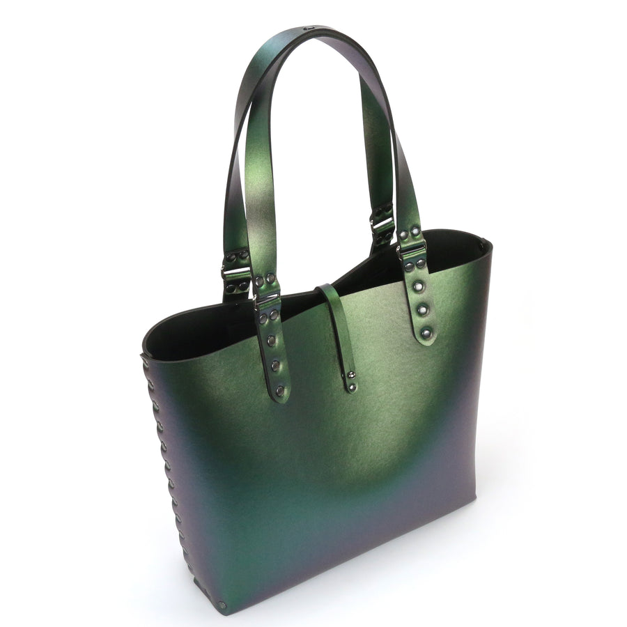 Emerald iridescent tote bag made from vegan leather by Mohop