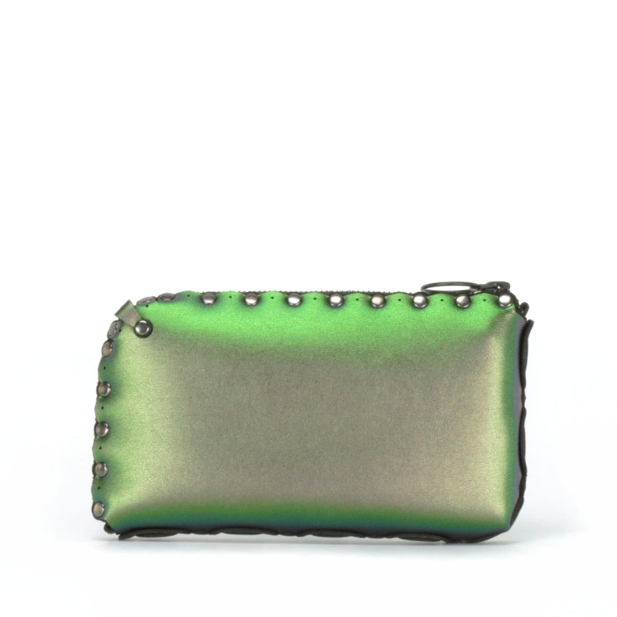 Rear view of emerald wallet bag