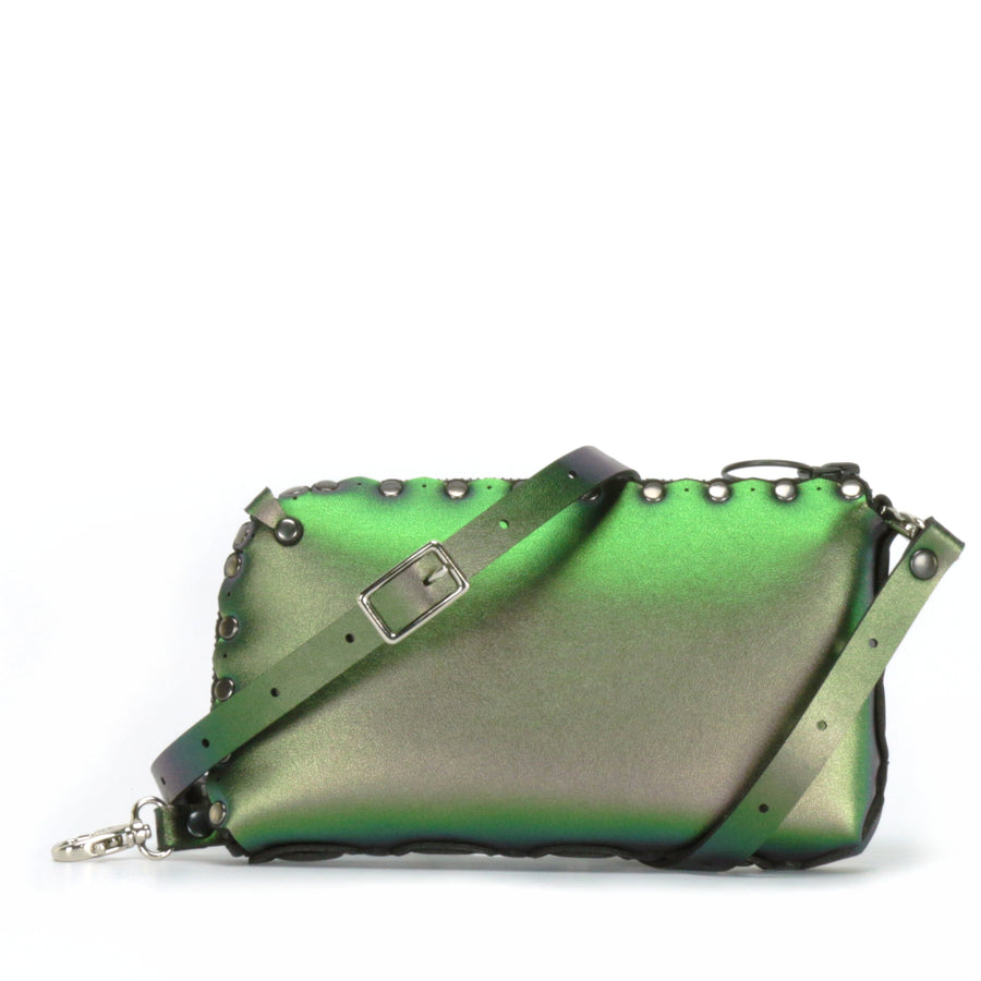 Emerald wallet bag shown with crossbody strap upgrade