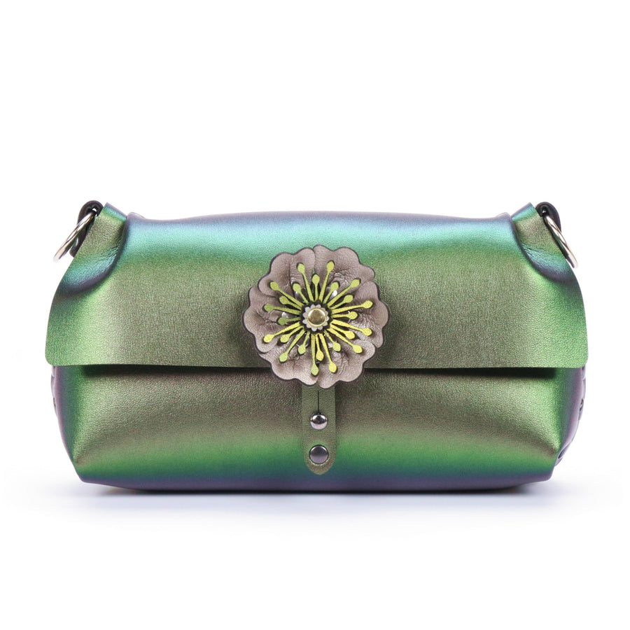 Emerald iridescent flower wristlet with removable strap